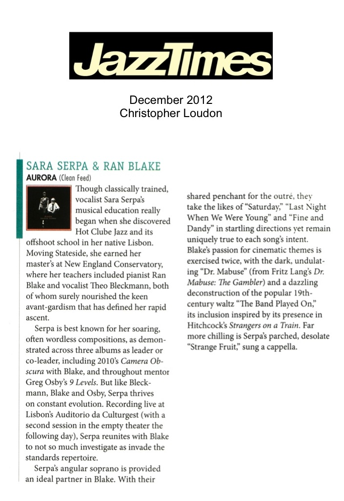 Jazztimes review by Christopher Loudon